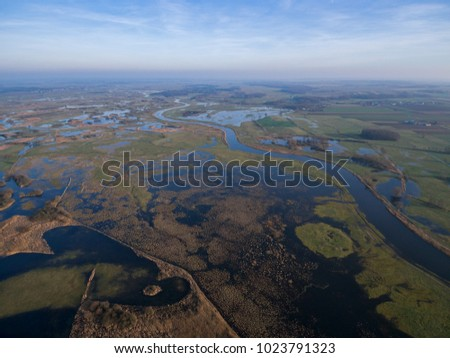 Aerial view of Narew river and its marsh near Tykocin