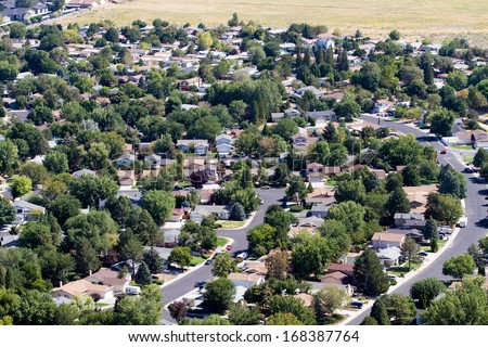 Aerial view of neighborhood suburbs around the city of Reno, Nevada, USA - stock photo