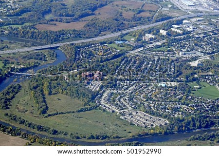 aerial view of neighborhoods along the Grand River in  Kitchener Waterloo, Ontario Canada
