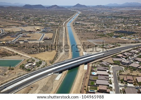 Aerial view of new bridge over CAP Canal - stock photo