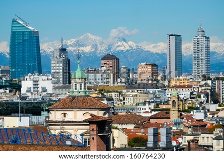 Aerial view of new modern buildings in downtown milan - stock photo