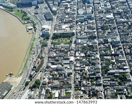 aerial view of New Orleans, above the French Quaters