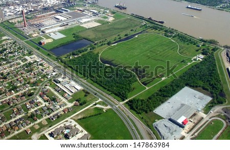 aerial view of New Orleans, Chalmette Battlefield & National Cemetery  - stock photo