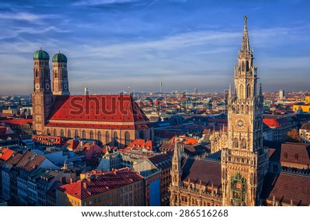 Aerial view of New Town Hall in Munich, Bavaria, Germany with Frauenkirche church (Cathedral of Our Dear Lady) - a landmark and symbol of the city. HDR technique - stock photo