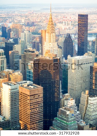 Aerial view of New York City at sunset  - stock photo