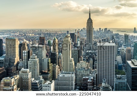 Aerial view of New York city in the USA at sunset. - stock photo