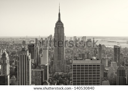 Aerial view of New York city in the USA in sepia tone. - stock photo