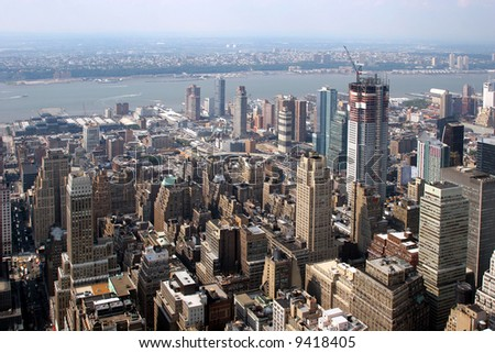 Aerial view of New York City. Photo taken from the top of Empire State Building - stock photo