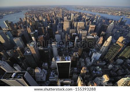 Aerial view of New York City skyline, Manhattan, New York - stock photo