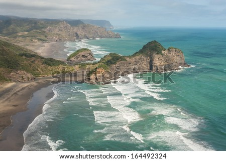aerial view of New Zealand coast - stock photo