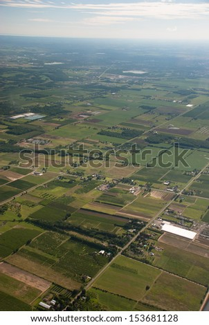 Aerial view of Niagara agricultural fields - stock photo