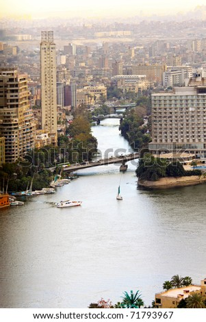 Aerial view of Nile river delta in Cairo
