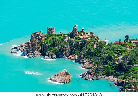 Aerial view of north Sicily coast from Cefalu, Italy - stock photo