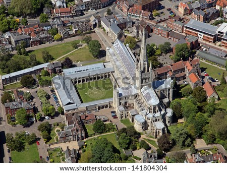 aerial view of Norwich Cathedral - stock photo
