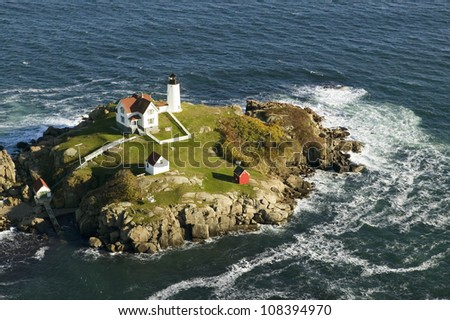 Aerial view of Nubble Lighthouse, Cape Neddick, Maine - stock photo