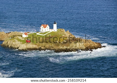 Aerial view of Nubble Lighthouse, Cape Neddick, Maine - stock photo