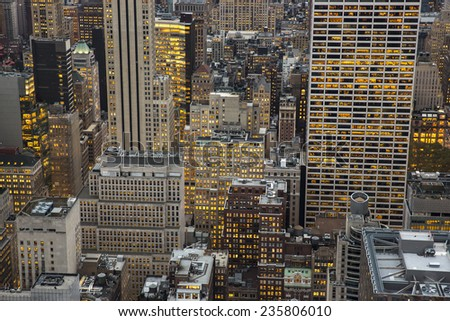Aerial view of NYC skyscrapers. - stock photo