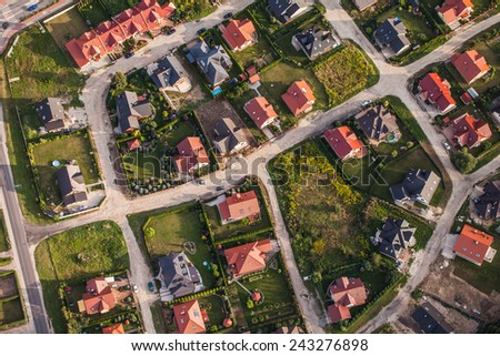 aerial view of Nysa town suburbs in Poland - stock photo
