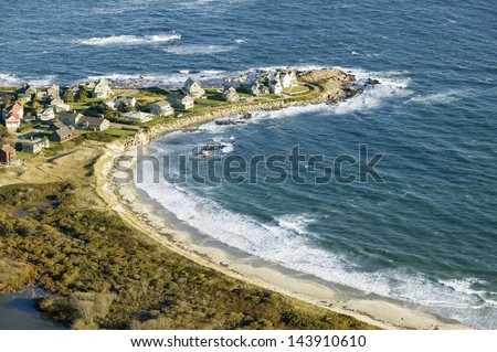 Aerial view of ocean-front homes on coast of Maine, near Walker-Point - stock photo