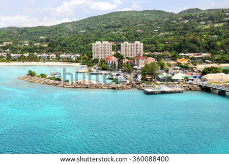 Aerial view of Ocho Rios Jamaica during daytime - stock photo