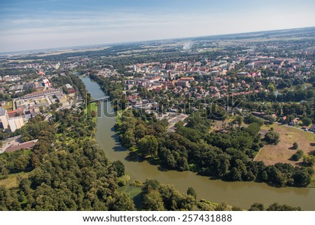aerial view of of Nysa city in Poland - stock photo