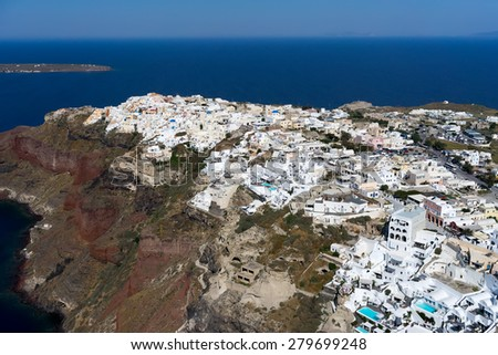 Aerial view of Oia in Santorini island, Greece - stock photo