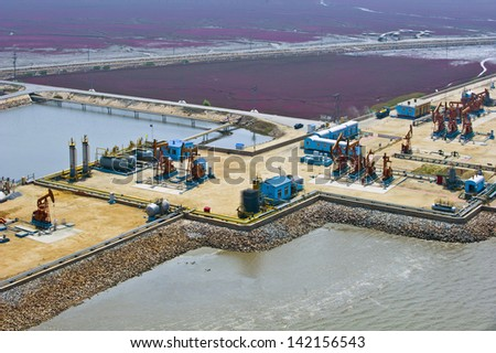 aerial view of oil pumps. Oil industry equipment.
