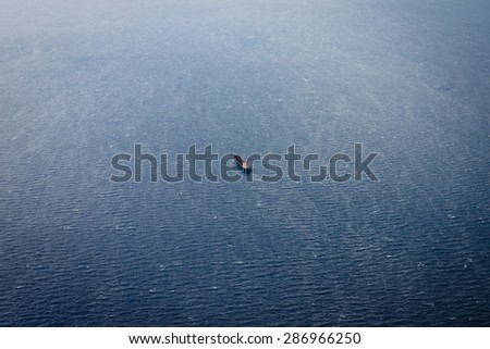 Aerial view of oil tanker ship on open sea - stock photo
