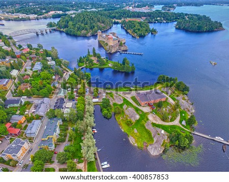 Aerial view of Olavinlinna Olofsborg Medieval Castle in Savonlinna, Finland. It is the northernmost medieval stone fortress still standing.
