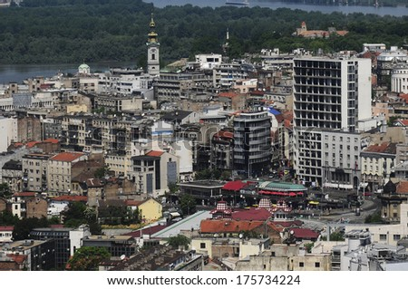 Aerial view of old Belgrade, capital of Serbia with The Cathedral Church of St. Michael the Archangel and Great War Island in the background - stock photo