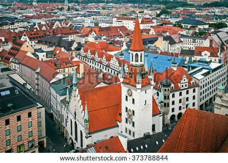 Aerial view of old city hall and toys museum in Munich, Bayern, Germany - stock photo
