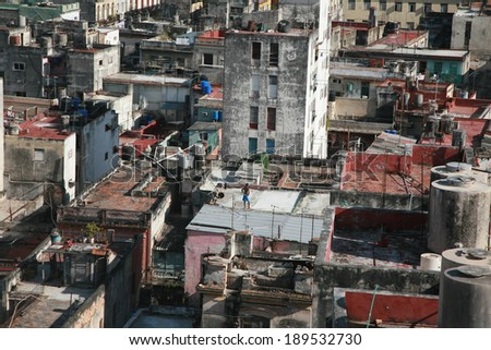 Aerial view of Old Havana, Cuba - stock photo