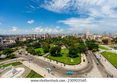 Aerial view of old Havana, Cuba - stock photo