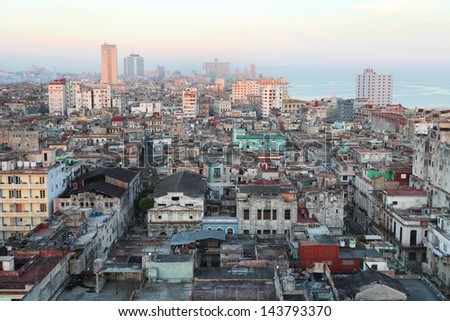 Aerial view of Old Havana . Havana. - stock photo