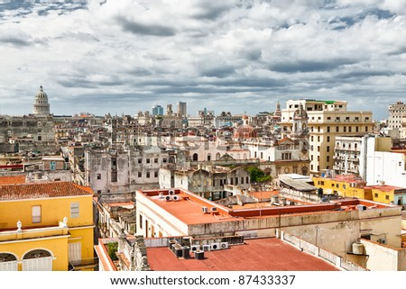 Aerial view of Old Havana with a stormy sky and the Capitol in the background