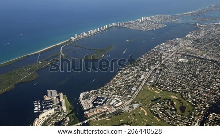 Aerial view of Old Port Cove and Marina in North Palm Beach, Florida - stock photo