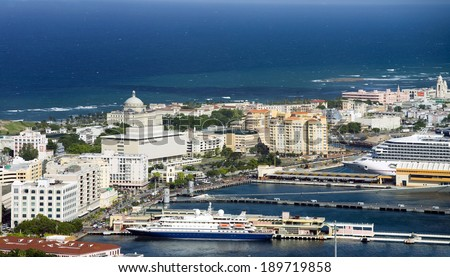 Aerial view of  Old San Juan Puerto Rico. - stock photo