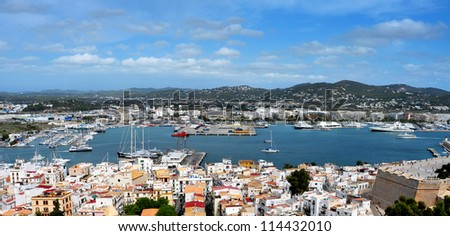 aerial view of old town and port of Ibiza Town, Balearic Islands, Spain