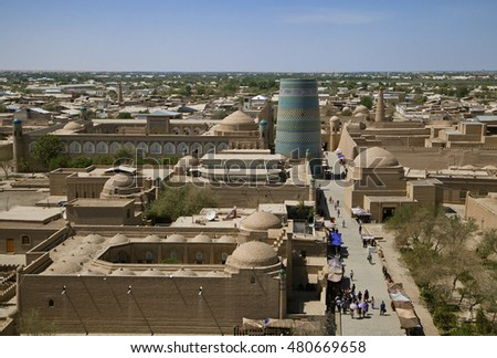 Aerial view of old town in Khiva, Uzbekistan