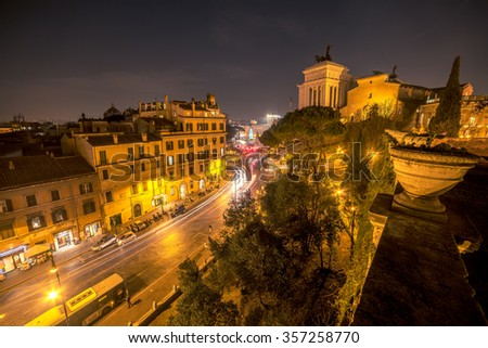 Aerial view of Old Town in Rome, Italy at night - stock photo