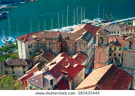 Aerial view of Old Town of Kotor, Montenegro - UNESCO World Heritage Sight - stock photo