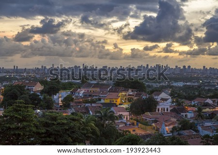 Aerial view of Olinda in PE, Brazil at sunset.