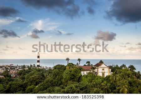 Aerial view of Olinda in Pernambuco, Brazil. - stock photo