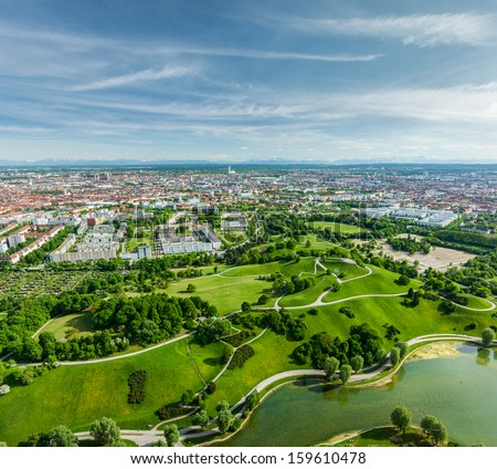 Aerial view of Olympiapark and Munich from Olympiaturm (Olympic Tower). Munich, Bavaria, Germany - stock photo