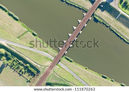 aerial view of Opole city railway bridge