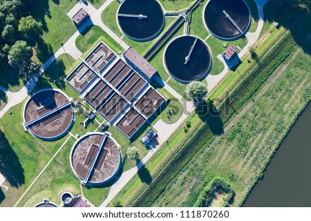 aerial view of Opole city sewage treatment plant - stock photo
