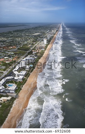 Aerial view of Ormond Beach, Flordia with oceanfront buildings.