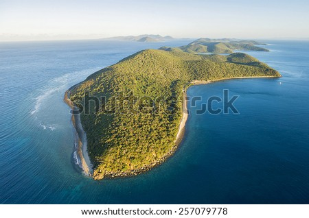 Aerial view of Orpheus Island, a national park off the coast of North Queensland, Australia - stock photo