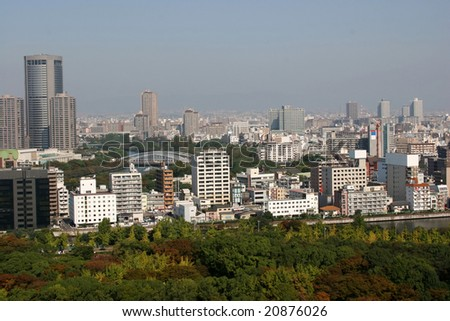aerial view of osaka city in a hazy day, tokyo