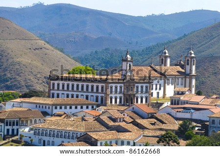 Aerial view of Ouro Preto City - Minas Gerais - Brazil - stock photo